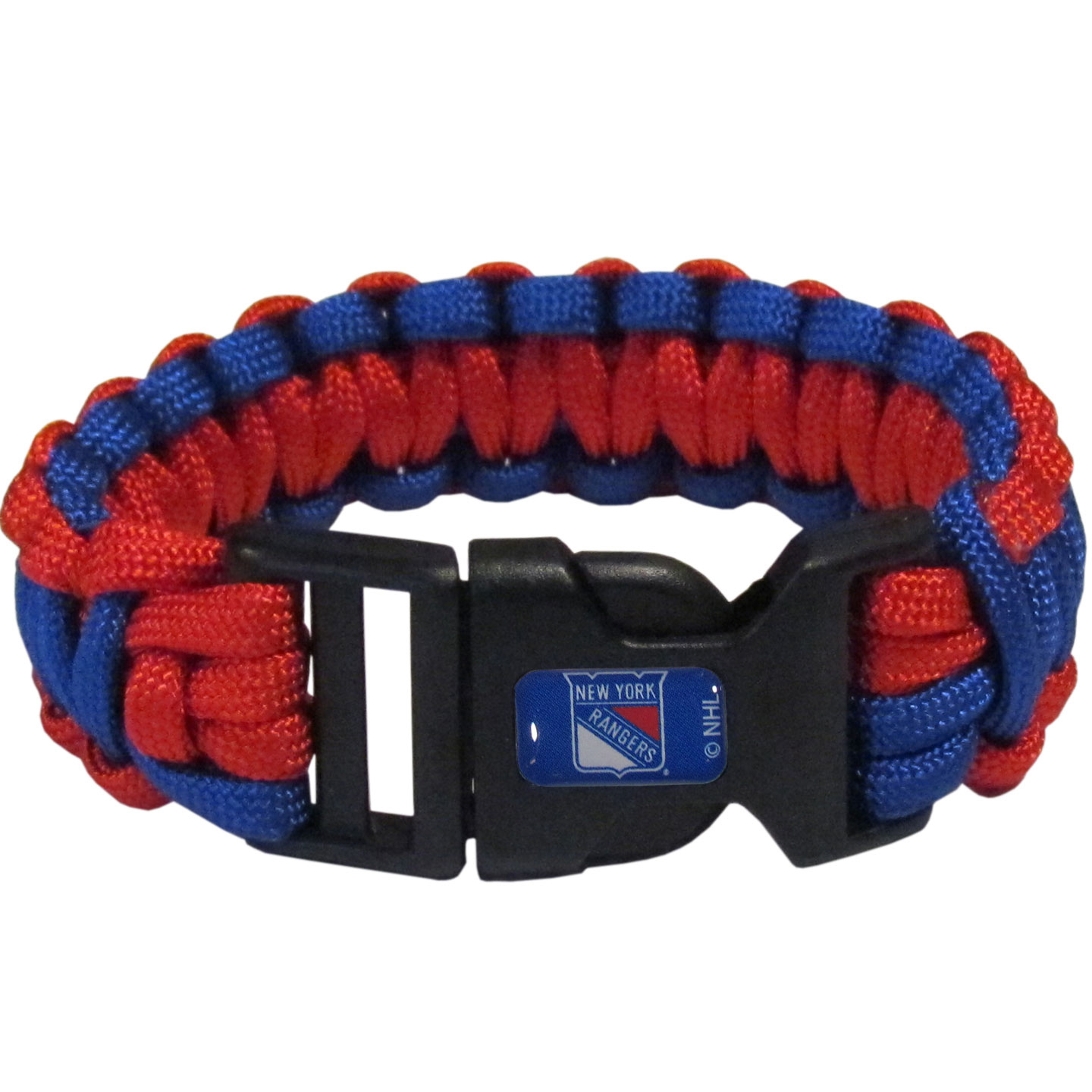 New York Rangers® Survivor Bracelet - Our functional and fashionable New York Rangers® survivor bracelets contain 2 individual 300lb test paracord rated cords that are each 5 feet long. The team colored cords can be pulled apart to be used in any number of emergencies and look great while worn. The bracelet features a team emblem on the clasp.