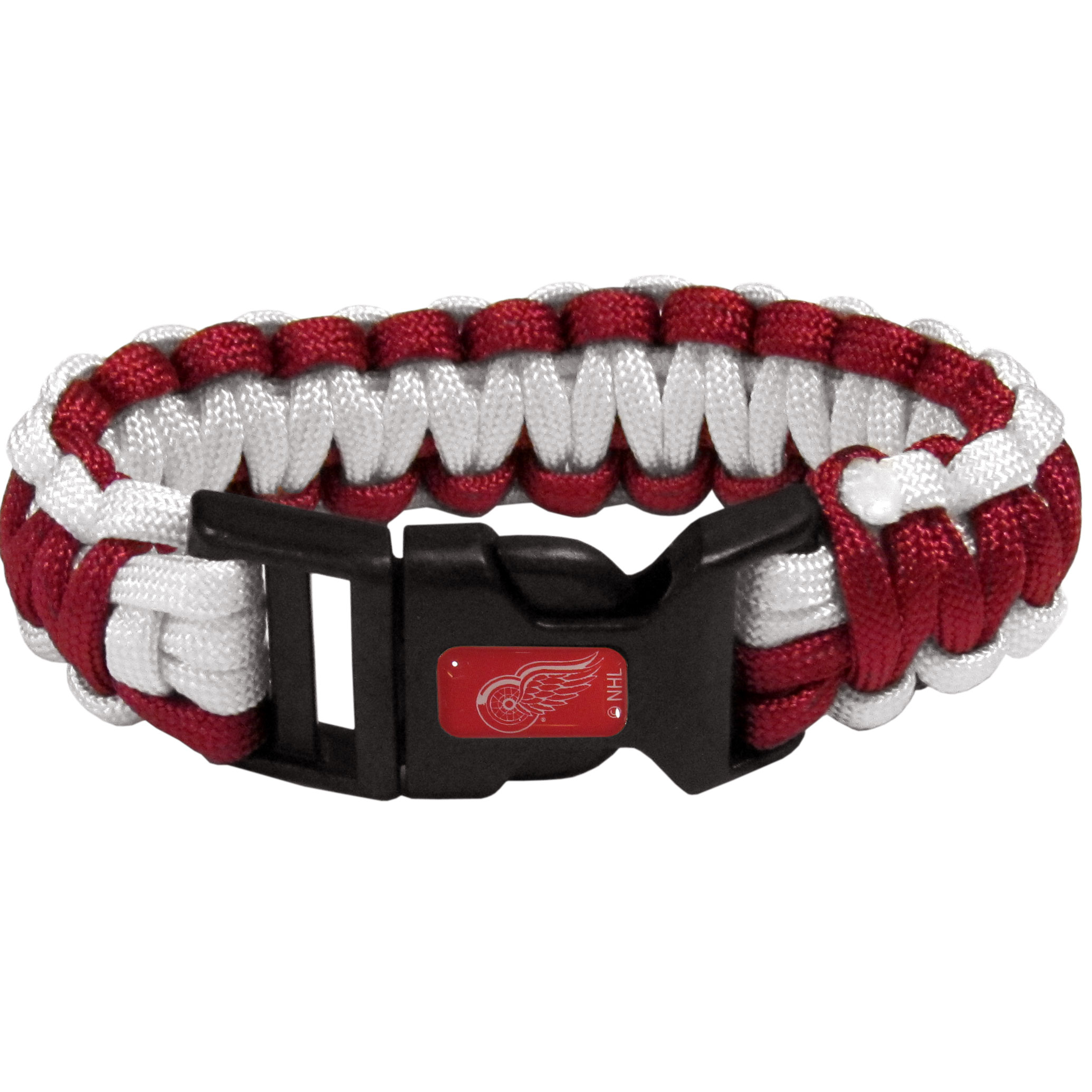 Detroit Red Wings® Survivor Bracelet - Our functional and fashionable Detroit Red Wings® survivor bracelets contain 2 individual 300lb test paracord rated cords that are each 5 feet long. The team colored cords can be pulled apart to be used in any number of emergencies and look great while worn. The bracelet features a team emblem on the clasp.