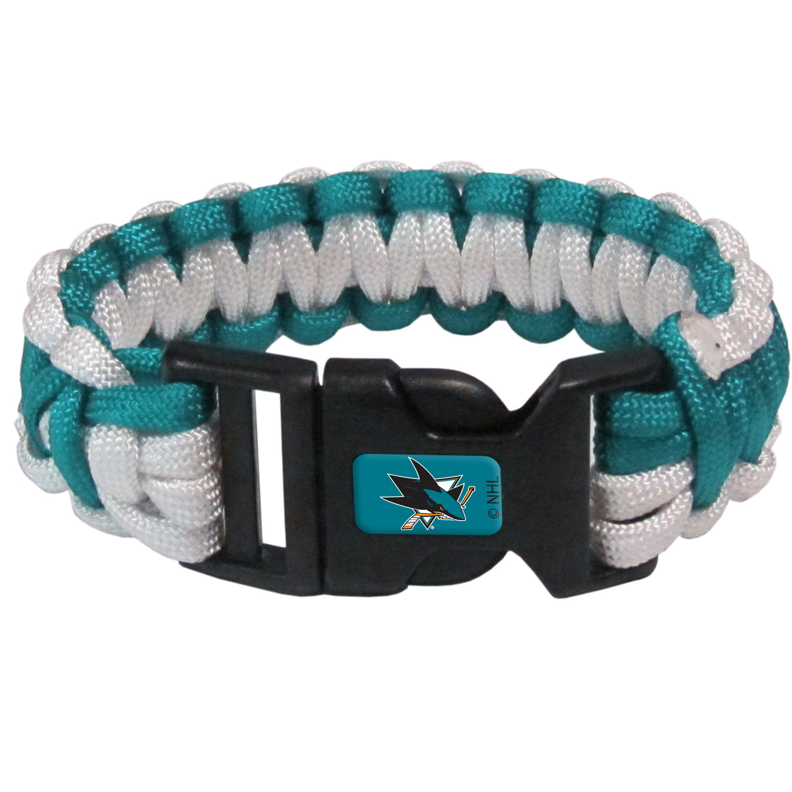 San Jose Sharks® Survivor Bracelet - Our functional and fashionable San Jose Sharks® survivor bracelets contain 2 individual 300lb test paracord rated cords that are each 5 feet long. The team colored cords can be pulled apart to be used in any number of emergencies and look great while worn. The bracelet features a team emblem on the clasp.