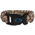 San Jose Sharks  Camo Survivor Bracelet - Our functional and fashionable San Jose Sharks  camo survivor bracelets contain 2 individual 300lb test paracord rated cords that are each 5 feet long. The camo cords can be pulled apart to be used in any number of emergencies and look great while worn. The bracelet features a team emblem on the clasp.