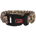 Carolina Hurricanes  Camo Survivor Bracelet - Our functional and fashionable Carolina Hurricanes  camo survivor bracelets contain 2 individual 300lb test paracord rated cords that are each 5 feet long. The camo cords can be pulled apart to be used in any number of emergencies and look great while worn. The bracelet features a team emblem on the clasp.  Thank you for visiting CrazedOutSports