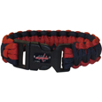 Washington Capitals  Survivor Bracelet - Our functional and fashionable Washington Capitals  survivor bracelets contain 2 individual 300lb test paracord rated cords that are each 5 feet long. The team colored cords can be pulled apart to be used in any number of emergencies and look great while worn. The bracelet features a team emblem on the clasp. Thank you for visiting CrazedOutSports