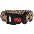 New Jersey Devils  Camo Survivor Bracelet - Our functional and fashionable New Jersey Devils  camo survivor bracelets contain 2 individual 300lb test paracord rated cords that are each 5 feet long. The camo cords can be pulled apart to be used in any number of emergencies and look great while worn. The bracelet features a team emblem on the clasp.