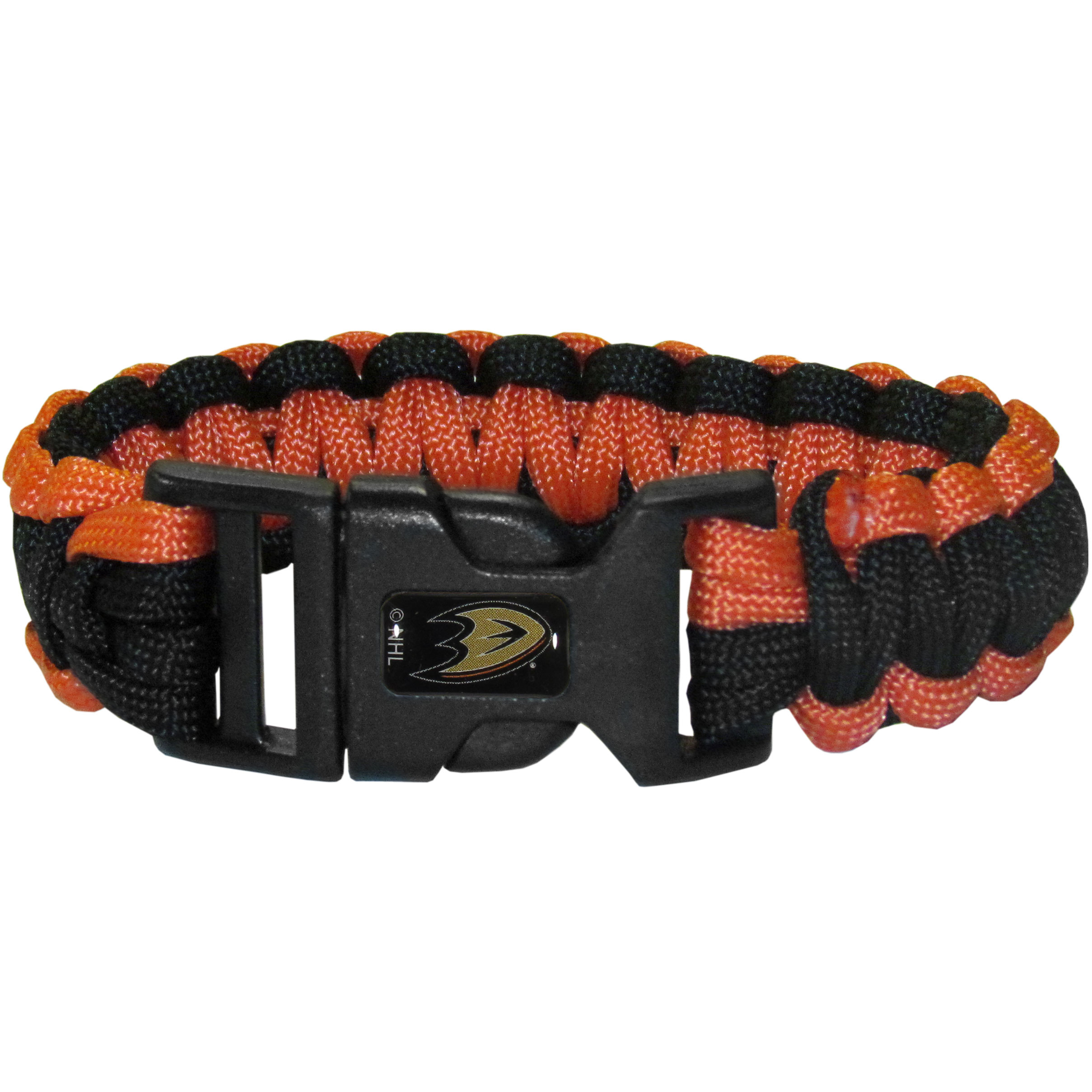 Anaheim Ducks® Survivor Bracelet - Our functional and fashionable Anaheim Ducks® survivor bracelets contain 2 individual 300lb test paracord rated cords that are each 5 feet long. The team colored cords can be pulled apart to be used in any number of emergencies and look great while worn. The bracelet features a team emblem on the clasp.