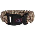 Colorado Avalanche Camo Survivor Bracelet - Our functional and fashionable Colorado Avalanche camo survivor bracelets contain 2 individual 300lb test paracord rated cords that are each 5 feet long. The camo cords can be pulled apart to be used in any number of emergencies and look great while worn. The bracelet features a Colorado Avalanche team emblem on the clasp.
