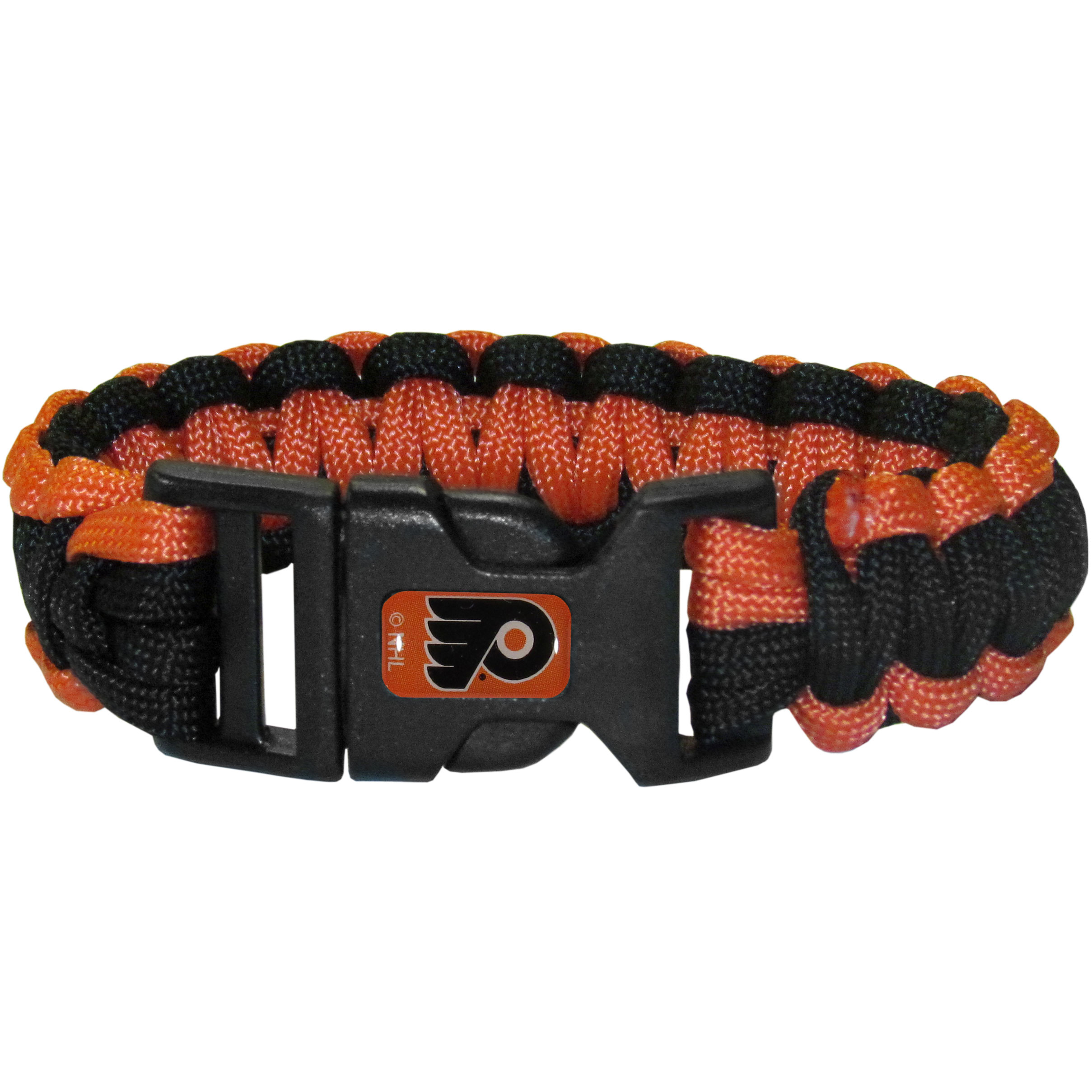 Philadelphia Flyers® Survivor Bracelet - Our functional and fashionable Philadelphia Flyers® survivor bracelets contain 2 individual 300lb test paracord rated cords that are each 5 feet long. The team colored cords can be pulled apart to be used in any number of emergencies and look great while worn. The bracelet features a team emblem on the clasp.