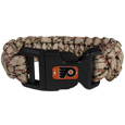 Philadelphia Flyers  Camo Survivor Bracelet - Our functional and fashionable Philadelphia Flyers  camo survivor bracelets contain 2 individual 300lb test paracord rated cords that are each 5 feet long. The camo cords can be pulled apart to be used in any number of emergencies and look great while worn. The bracelet features a team emblem on the clasp.
