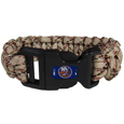 New York Islanders  Camo Survivor Bracelet - Our functional and fashionable New York Islanders  camo survivor bracelets contain 2 individual 300lb test paracord rated cords that are each 5 feet long. The camo cords can be pulled apart to be used in any number of emergencies and look great while worn. The bracelet features a team emblem on the clasp.