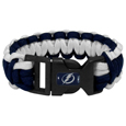 Tampa Bay Lightning  Survivor Bracelet - Our functional and fashionable Tampa Bay Lightning  survivor bracelets contain 2 individual 300lb test paracord rated cords that are each 5 feet long. The team colored cords can be pulled apart to be used in any number of emergencies and look great while worn. The bracelet features a team emblem on the clasp.