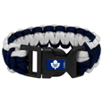 Toronto Maple Leafs  Survivor Bracelet - Our functional and fashionable Toronto Maple Leafs  survivor bracelets contain 2 individual 300lb test paracord rated cords that are each 5 feet long. The team colored cords can be pulled apart to be used in any number of emergencies and look great while worn. The bracelet features a team emblem on the clasp. Thank you for visiting CrazedOutSports
