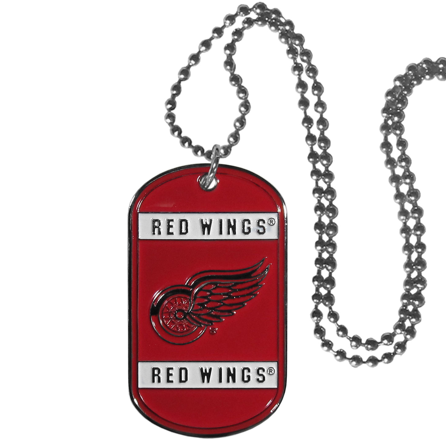 Detroit Red Wings® Tag Necklace - Expertly crafted Detroit Red Wings® tag necklaces featuring fine detailing and a hand enameled finish with chrome accents. 26 inch chain.