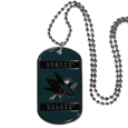 San Jose Sharks Tag Necklace - Expertly crafted San Jose Sharks tag necklaces featuring fine detailing and a hand enameled finish with chrome accents. 26 inch chain.