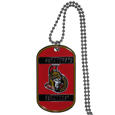 Ottawa Senators Tag Necklace - Expertly crafted Ottawa Senators tag necklaces featuring fine detailing and a hand enameled finish with chrome accents. 26 inch ball chain.