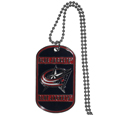 Columbus Blue Jackets® Tag Necklace - Expertly crafted Columbus Blue Jackets® tag necklaces featuring fine detailing and a hand enameled finish with chrome accents. 26 inch ball chain.