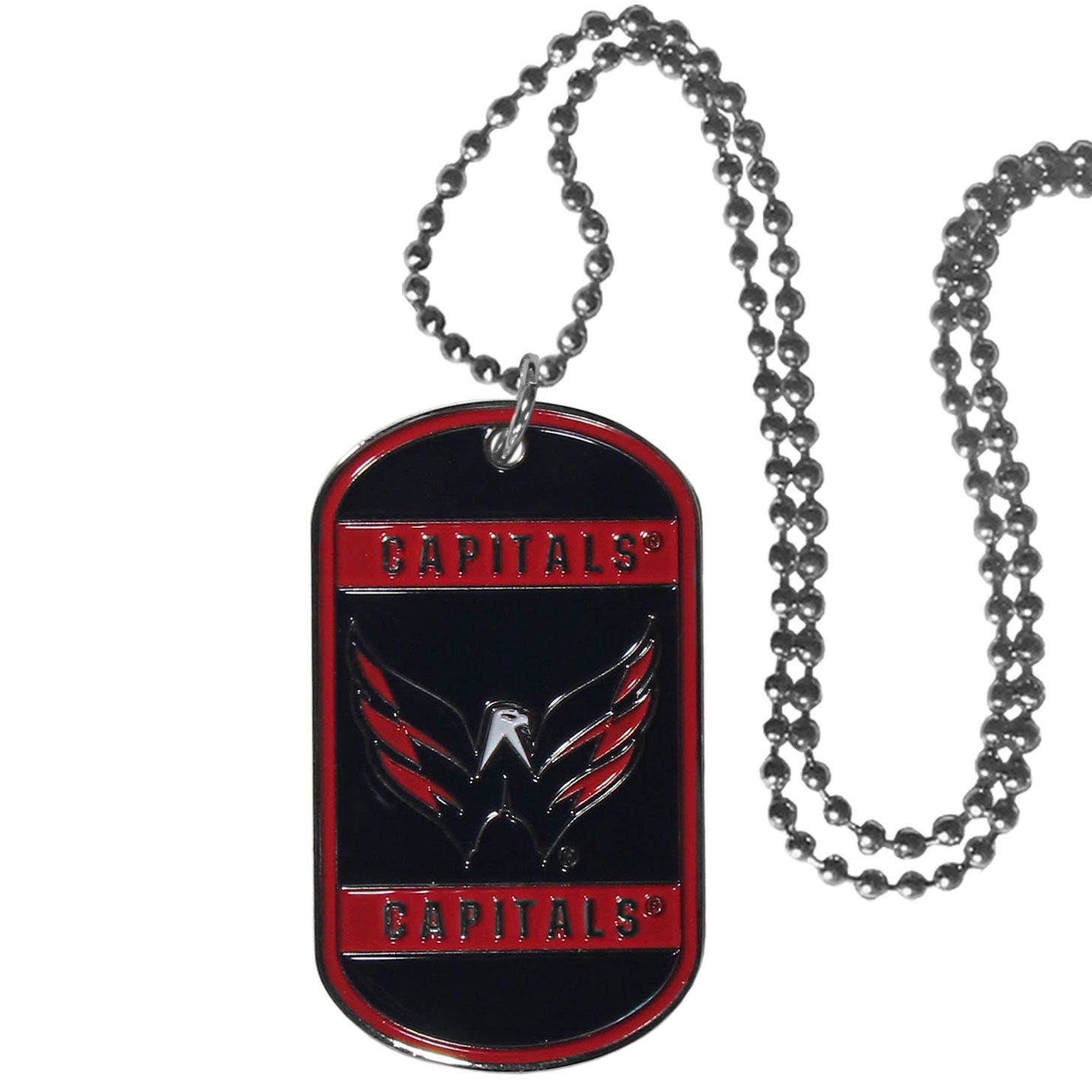 Washington Capitals® Tag Necklace - Expertly crafted Washington Capitals® tag necklaces featuring fine detailing and a hand enameled finish with chrome accents. 26 inch chain.