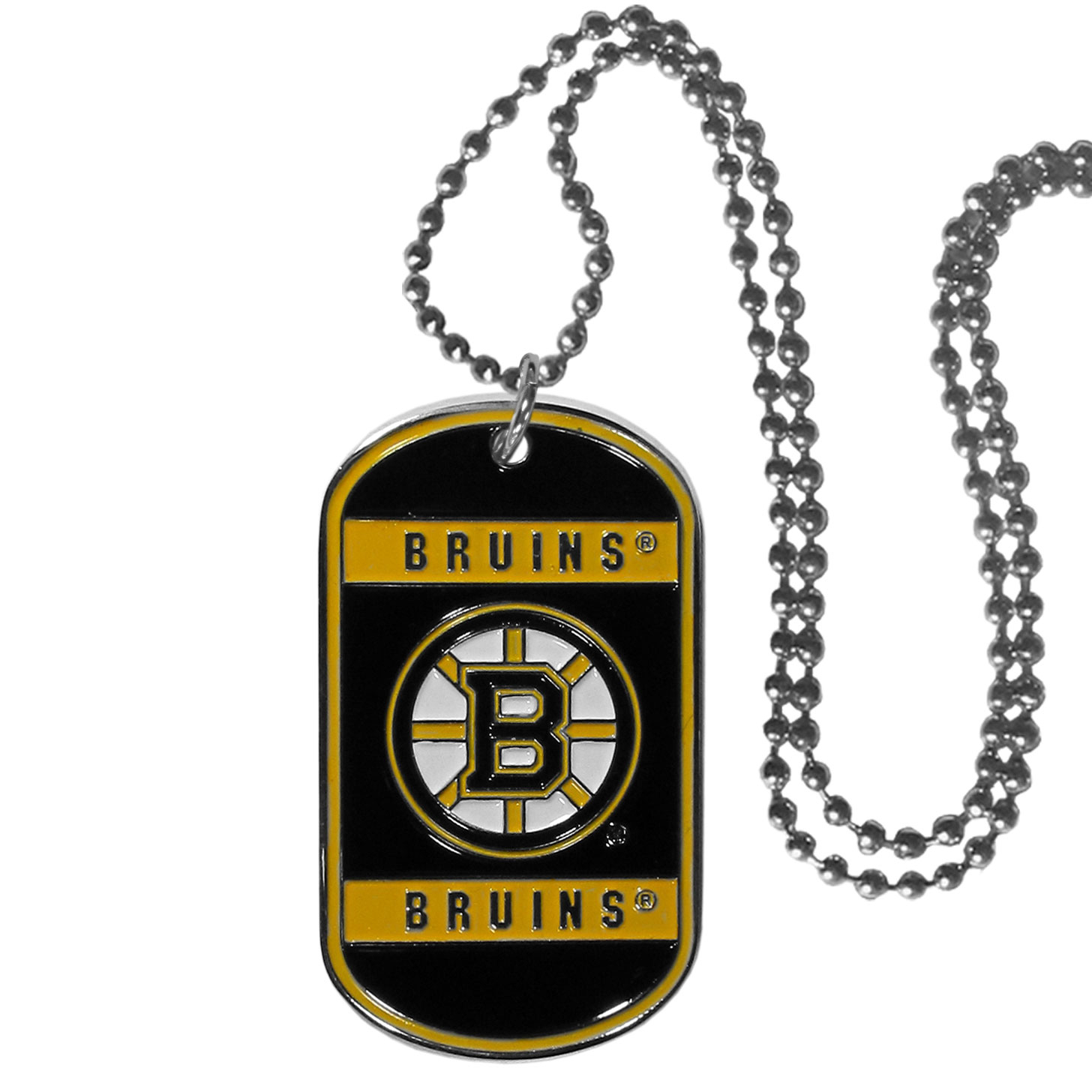 Boston Bruins® Tag Necklace - Expertly crafted Boston Bruins® tag necklaces featuring fine detailing and a hand enameled finish with chrome accents. 26 inch chain.