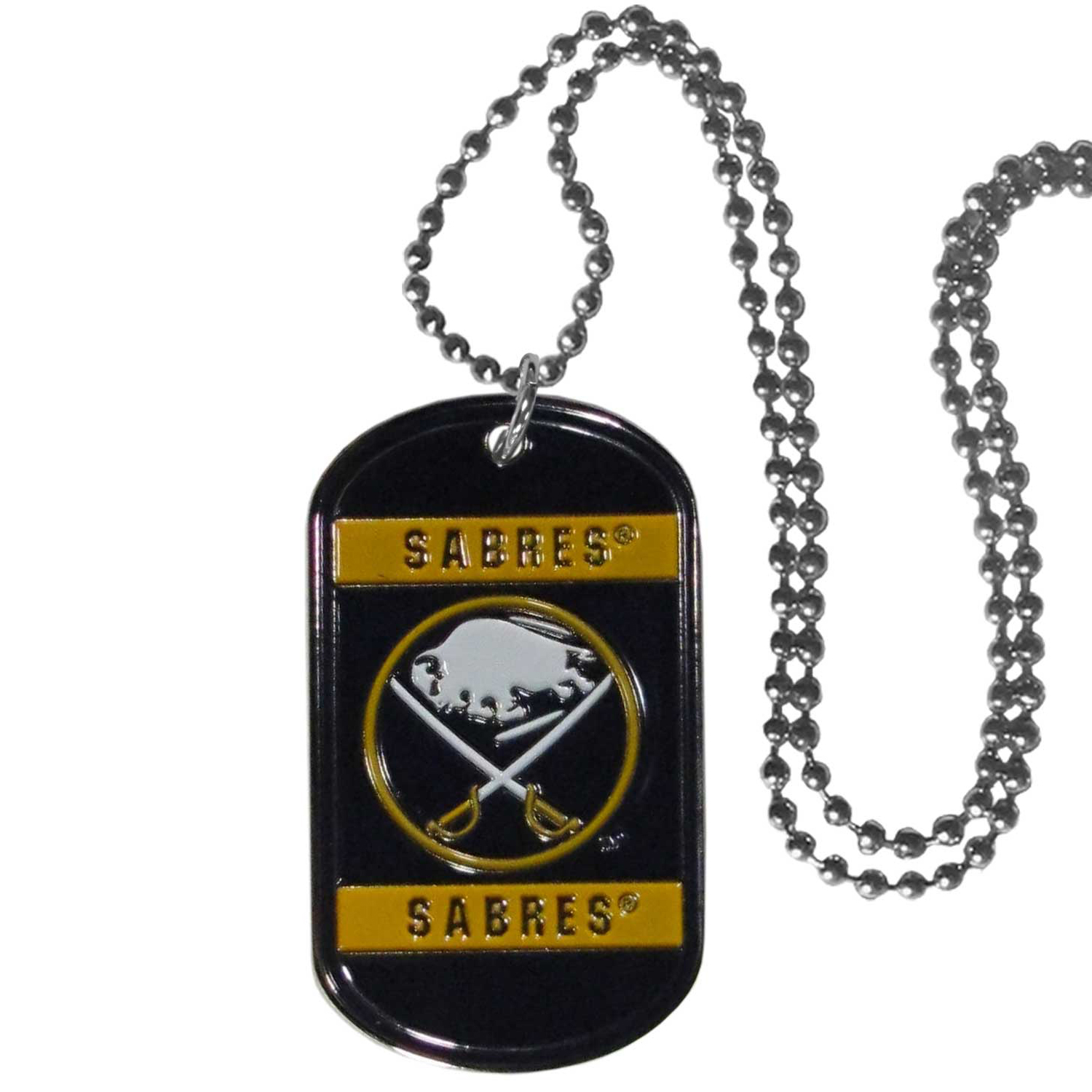 Buffalo Sabres® Tag Necklace - Expertly crafted Buffalo Sabres® tag necklaces featuring fine detailing and a hand enameled finish with chrome accents. 26 inch chain.