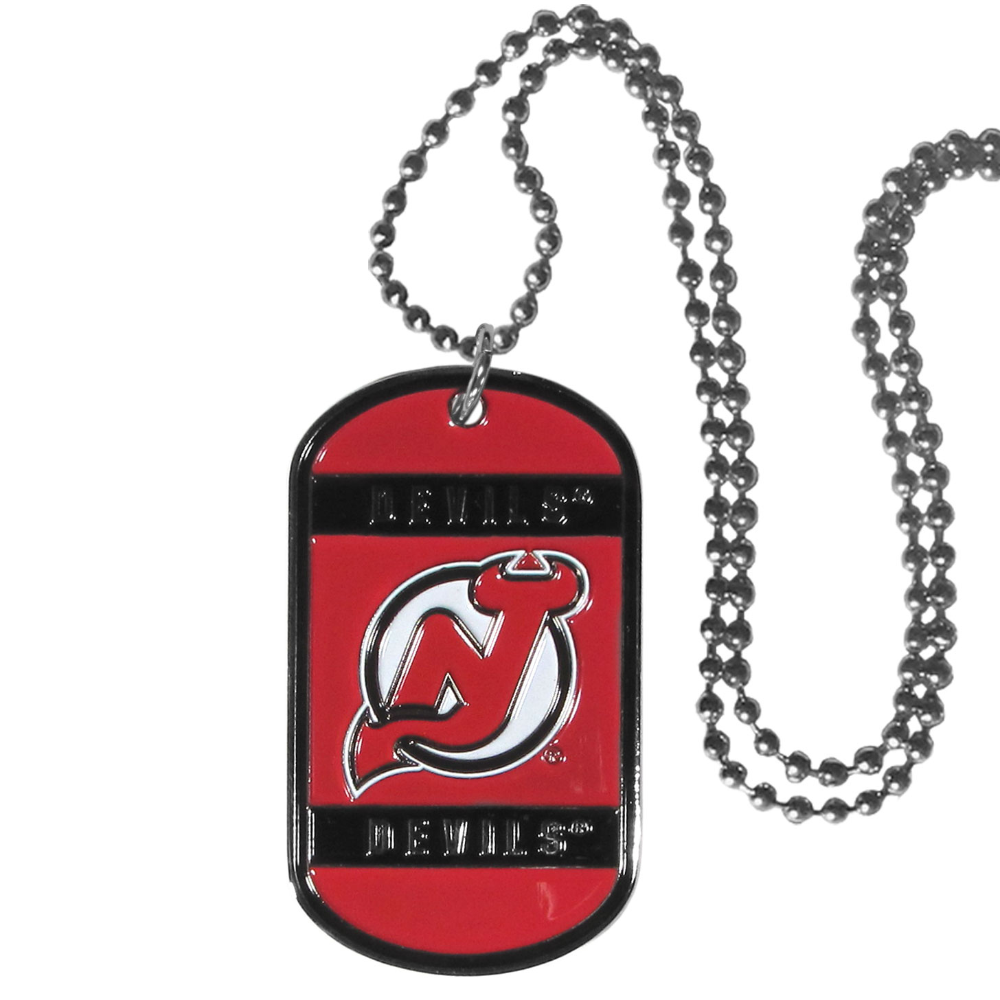 New Jersey Devils® Tag Necklace - Expertly crafted New Jersey Devils® tag necklaces featuring fine detailing and a hand enameled finish with chrome accents. 26 inch chain.