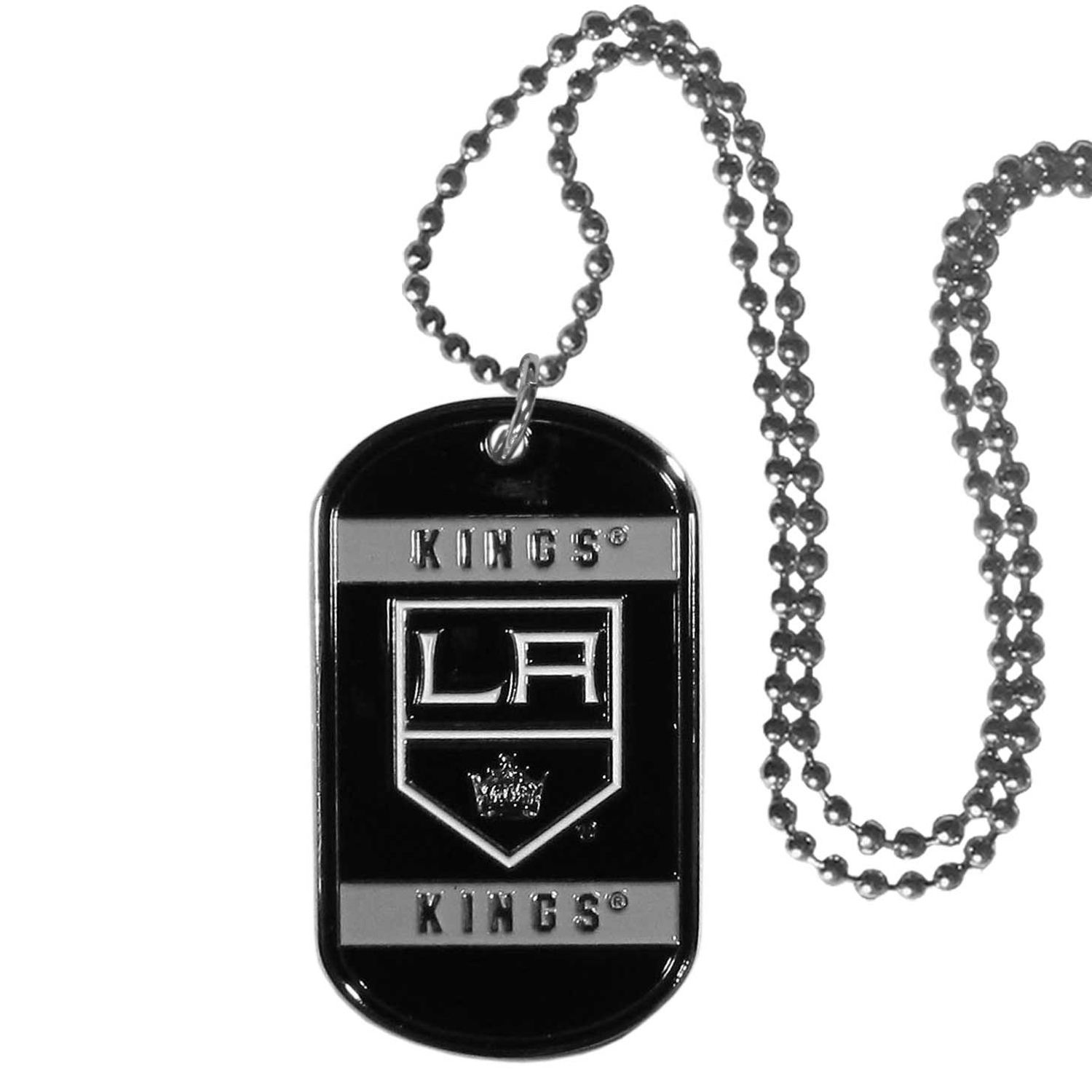 Los Angeles Kings® Tag Necklace - Expertly crafted Los Angeles Kings® tag necklaces featuring fine detailing and a hand enameled finish with chrome accents. 26 inch chain.