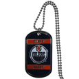Edmonton Oilers Tag Necklace  - Expertly crafted Edmonton Oilers tag necklaces featuring fine detailing and a hand enameled finish with chrome accents. 26 inch ball chain.