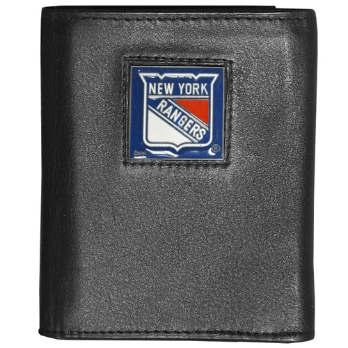 NHL Trifold Wallet in Box -  New York Rangers - NHL New York Rangers Tri-fold wallet is made of high quality fine grain leather with New York Rangers logo sculpted and enameled with fine detail on the front panel. Packaged in a window box. Thank you for visiting CrazedOutSports