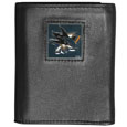 San Jose Sharks Deluxe Leather Tri-fold Wallet - Our officially licensed fine grain leather wallet features numerous card slots, windowed ID slots, removable picture slots and large billfold pockets. This quality wallet has an enameled San Jose Sharks emblem on the front of the wallet. The wallet is packaged in a gift box.