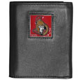 Ottawa Senators Deluxe Leather Tri-fold Wallet - Officially licensed Ottawa Senators fine grain leather wallet features numerous card slots, windowed ID slots, removable picture slots and large billfold pockets. This quality Ottawa Senators wallet has an enameled Ottawa Senators emblem on the front of the wallet. The Ottawa Senators wallet is packaged in a gift box.
