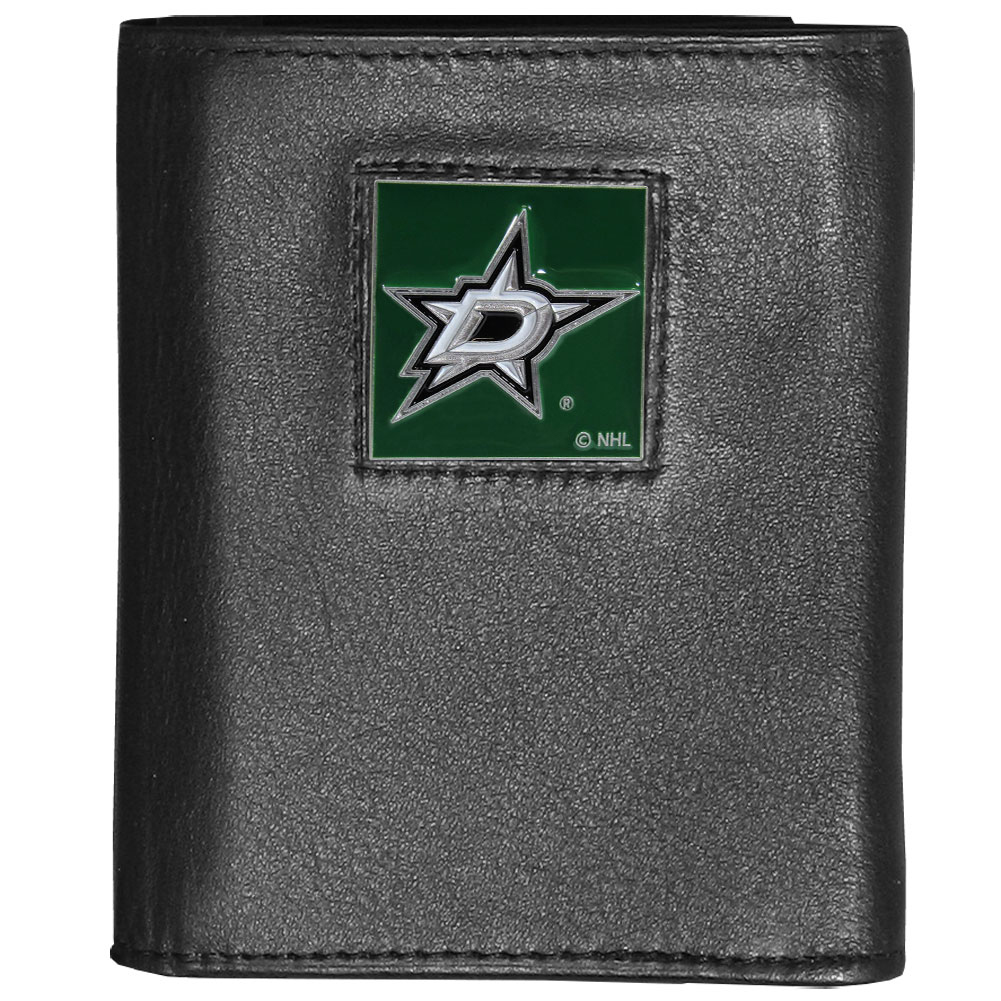Dallas Stars™ Deluxe Leather Tri-fold Wallet - Our officially licensed fine grain leather wallet features numerous card slots, windowed ID slots, removable picture slots and large billfold pockets. This quality wallet has an enameled Dallas Stars™ emblem on the front of the wallet making it a stylish way to show off your team pride.