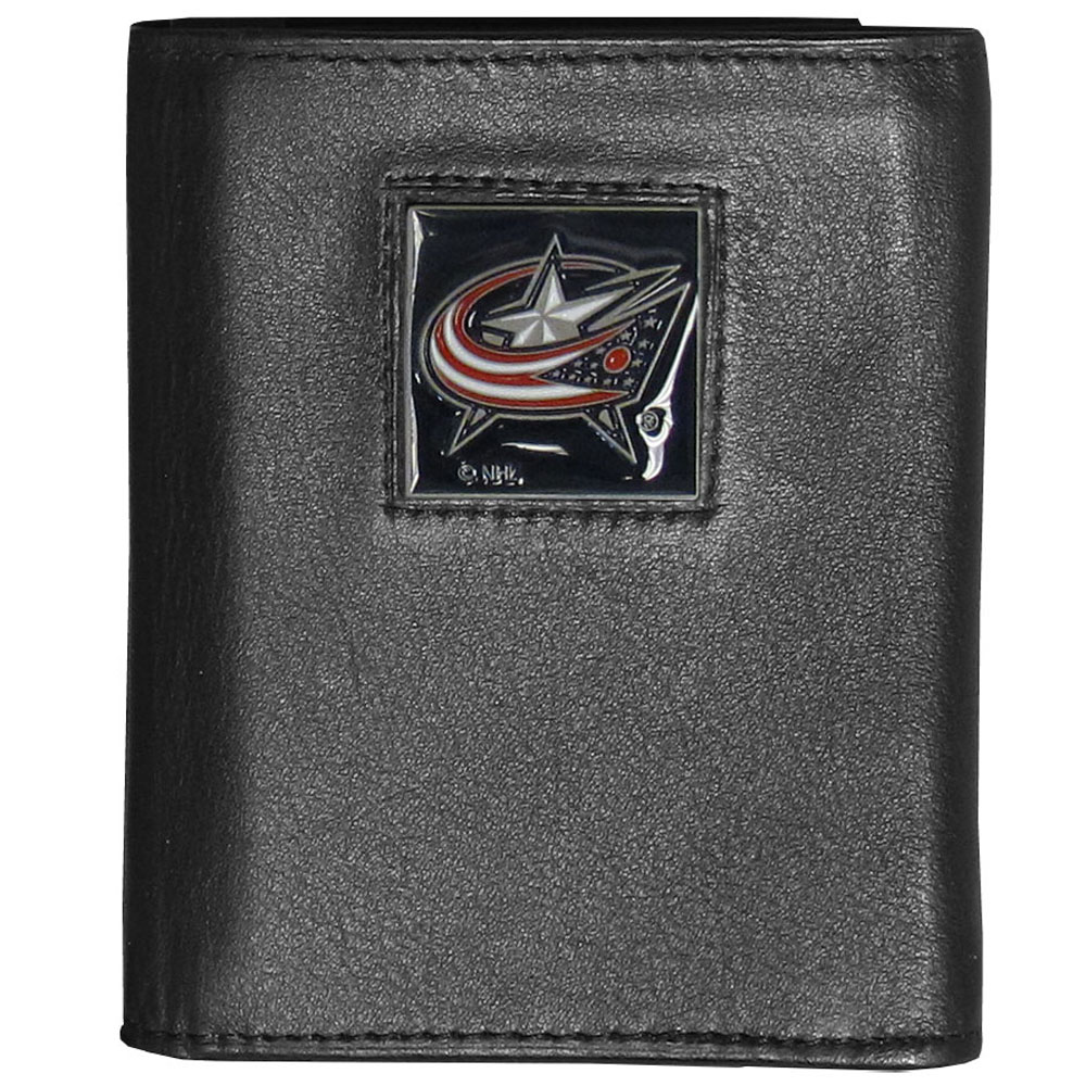 Columbus Blue Jackets® Deluxe Leather Tri-fold Wallet - Our officially licensed fine grain leather wallet features numerous card slots, windowed ID slots, removable picture slots and large billfold pockets. This quality wallet has an enameled Columbus Blue Jackets® emblem on the front of the wallet making it a stylish way to show off your team pride.