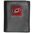 Carolina Hurricanes Deluxe Leather Tri-fold Wallet - Officially licensed Carolina Hurricanes fine grain leather wallet features numerous card slots, windowed ID slots, removable picture slots and large billfold pockets. This quality Carolina Hurricanes wallet has an enameled Carolina Hurricanes emblem on the front of the wallet. The Carolina Hurricanes wallet is packaged in a gift box.