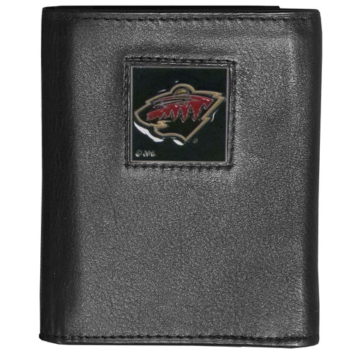 Minnesota Wild Leather Tri-fold Wallet - Officially licensed NHL Minnesota Wild fine grain leather wallet features numerous card slots, windowed ID slots, removable picture slots and large billfold pockets. This quality Minnesota Wild wallet has an enameled Minnesota Wild emblem on the front of the wallet. Thank you for visiting CrazedOutSports