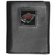 Minnesota Wild Deluxe Leather Tri-fold Wallet - Officially licensed Minnesota Wild fine grain leather wallet features numerous card slots, windowed ID slots, removable picture slots and large billfold pockets. This quality Minnesota Wild wallet has an enameled Minnesota Wild emblem on the front of the wallet. The Minnesota Wild wallet is packaged in a gift box. Thank you for visiting CrazedOutSports