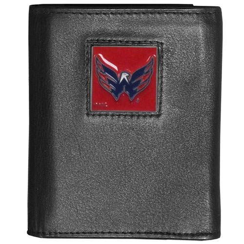 Washington Capitals Leather Tri-fold Wallet - Officially licensed NHL Washington Capitals fine grain leather wallet features numerous card slots, windowed ID slots, removable picture slots and large billfold pockets. This quality Washington Capitals wallet has an enameled Washington Capitals emblem on the front of the wallet. Thank you for visiting CrazedOutSports