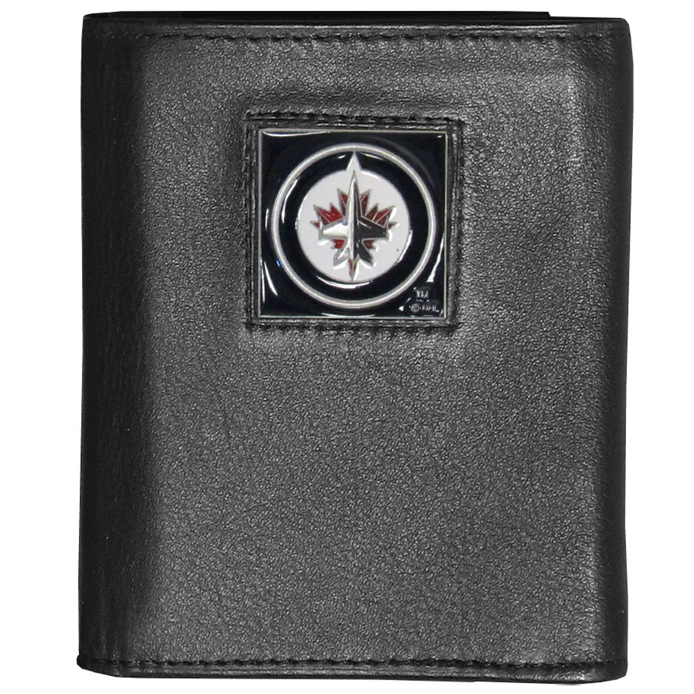 Winnipeg Jets™ Deluxe Leather Tri-fold Wallet - Our officially licensed fine grain leather wallet features numerous card slots, windowed ID slots, removable picture slots and large billfold pockets. This quality wallet has an enameled Winnipeg Jets™ emblem on the front of the wallet making it a stylish way to show off your team pride.