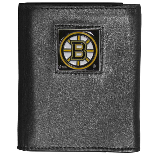 Boston Bruins Leather Tri-fold Wallet - Officially licensed NHL Boston Bruins fine grain leather wallet features numerous card slots, windowed ID slots, removable picture slots and large billfold pockets. This quality Boston Bruins wallet has an enameled Boston Bruins emblem on the front of the wallet. Thank you for visiting CrazedOutSports