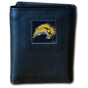 NHL Trifold Wallet - Buffalo Sabres - NHL Buffalo Sabres Tri-fold wallet is made of high quality fine grain leather with Buffalo Sabres logo sculpted and enameled with fine detail on the front panel.