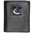 Vancouver Canucks Deluxe Leather Tri-fold Wallet - Officially licensed NHL Vancouver Canucks fine grain leather wallet features numerous card slots, windowed ID slots, removable picture slots and large billfold pockets. This quality Vancouver Canucks wallet has an enameled Vancouver Canucks emblem on the front of the wallet. The Vancouver Canucks wallet is packaged in a gift box.
