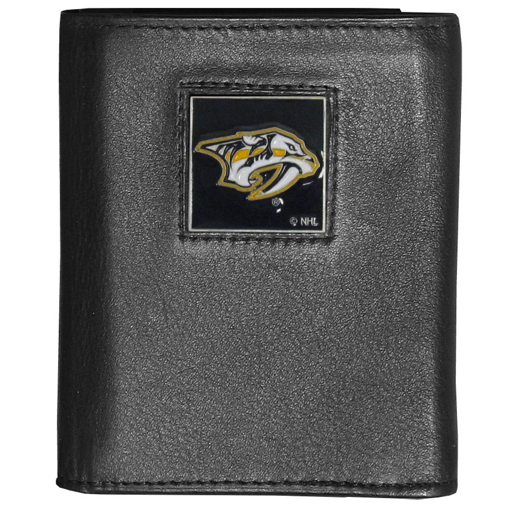 Nashville Predators® Deluxe Leather Tri-fold Wallet - Our officially licensed fine grain leather wallet features numerous card slots, windowed ID slots, removable picture slots and large billfold pockets. This quality wallet has an enameled Nashville Predators® emblem on the front of the wallet making it a stylish way to show off your team pride.