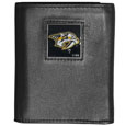 Nashville Predators Deluxe Leather Tri-fold Wallet - Officially licensed Nashville Predators fine grain leather wallet features numerous card slots, windowed ID slots, removable picture slots and large billfold pockets. This quality Nashville Predators wallet has an enameled Nashville Predators emblem on the front of the wallet. The Nashville Predators wallet is packaged in a gift box.
