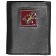 Arizona Coyotes Deluxe Leather Tri-fold Wallet - Officially licensed Arizona Coyotes fine grain leather wallet features numerous card slots, windowed ID slots, removable picture slots and large billfold pockets. This quality Arizona Coyotes wallet has an enameled Arizona Coyotes emblem on the front of the wallet. The Arizona Coyotes wallet is packaged in a gift box.