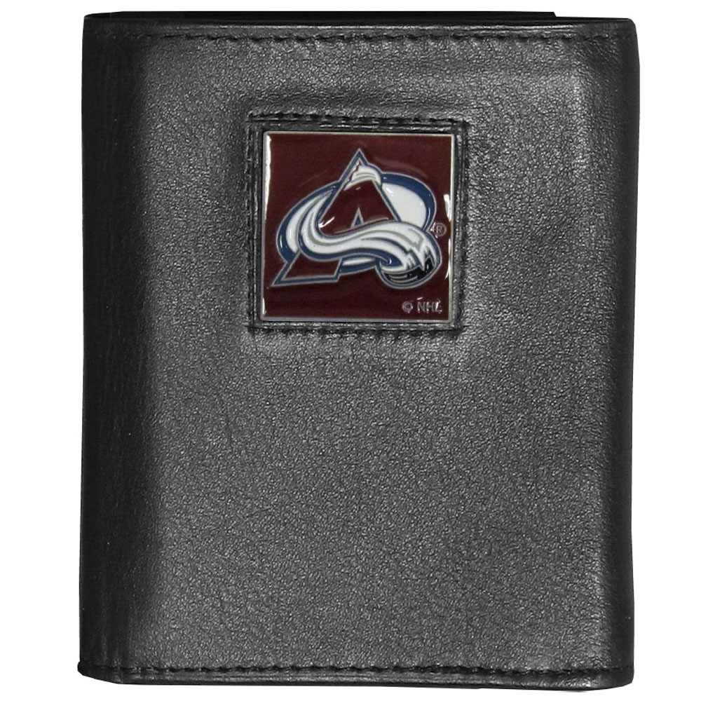 Colorado Avalanche® Deluxe Leather Tri-fold Wallet - Our officially licensed fine grain leather wallet features numerous card slots, windowed ID slots, removable picture slots and large billfold pockets. This quality wallet has an enameled Colorado Avalanche® emblem on the front of the wallet making it a stylish way to show off your team pride.