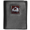Colorado Avalanche Deluxe Leather Tri-fold Wallet - Officially licensed NHL Colorado Avalanche fine grain leather wallet features numerous card slots, windowed ID slots, removable picture slots and large billfold pockets. This quality Colorado Avalanche wallet has an enameled Colorado Avalanche emblem on the front of the wallet. The Colorado Avalanche wallet is packaged in an NHL  gift box