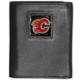 Calgary Flames Deluxe Leather Tri-fold Wallet - An Officially licensed Calgary Deluxe Leather Tri-fold Wallet features numerous card slots, windowed ID slots, removable picture slots and large billfold pockets. This quality Calgary Flames Deluxe Leather Tri-fold Wallet has an enameled Calgary Flames emblem on the front of the wallet. The Calgary Flames Deluxe Leather Tri-fold Wallet is packaged in a gift box Thank you for visiting CrazedOutSports