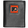 Philadelphia Flyers Deluxe Leather Tri-fold Wallet - This Officially licensed Philadelphia Flyers Deluxe Leather Tri-fold Wallet features numerous card slots, windowed ID slots, removable picture slots and large billfold pockets. This quality Philadelphia Flyers Deluxe Leather Tri-fold Wallet has an enameled Philadelphia Flyers emblem on the front of the wallet. The Philadelphia Flyers Deluxe Leather Tri-fold Wallet is packaged in a gift box