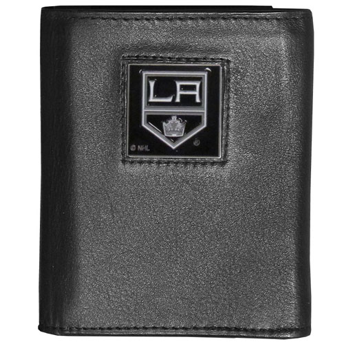 Los Angeles Kings Leather Tri-fold Wallet - Officially licensed NHL Los Angeles Kings fine grain leather wallet features numerous card slots, windowed ID slots, removable picture slots and large billfold pockets. This quality Los Angeles Kings wallet has an enameled Los Angeles Kings team emblem on the front of the wallet.