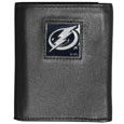 Tampa Bay Lightning Deluxe Leather Tri-fold Wallet - Officially licensed Tampa Bay Lightning fine grain leather wallet features numerous card slots, windowed ID slots, removable picture slots and large billfold pockets. This quality Tampa Bay Lightning wallet has an enameled Tampa Bay Lightning emblem on the front of the wallet. The Tampa Bay Lightning wallet is packaged in a gift box. Thank you for visiting CrazedOutSports