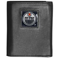 Edmonton Oilers Deluxe Leather Tri-fold Wallet - Officially licensed Edmonton Oilers fine grain leather wallet features numerous card slots, windowed ID slots, removable picture slots and large billfold pockets. This quality Edmonton Oilers wallet has an enameled Edmonton Oilers emblem on the front of the wallet. The Edmonton Oilers wallet is packaged in a gift box