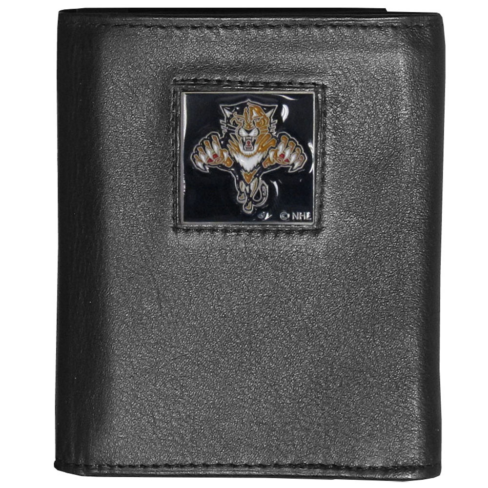 Florida Panthers® Deluxe Leather Tri-fold Wallet - Our officially licensed fine grain leather wallet features numerous card slots, windowed ID slots, removable picture slots and large billfold pockets. This quality wallet has an enameled Florida Panthers® emblem on the front of the wallet making it a stylish way to show off your team pride.