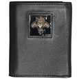 Florida Panthers Deluxe Leather Tri-fold Wallet - Officially licensed NHL Florida Panthers fine grain leather wallet features numerous card slots, windowed ID slots, removable picture slots and large billfold pockets. This quality Florida Panthers wallet has an enameled Florida Panthers emblem on the front of the wallet. The Florida Panthers wallet is packaged in a gift box