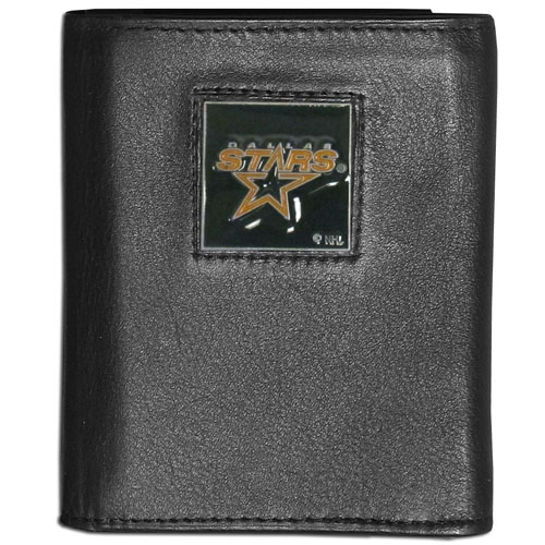 Dallas Stars Leather Tri-fold Wallet - This Dallas Stars leather/nylon tri-fold wallet features a sculpted and hand painted collectors square on a black leather trifold Dallas Stars wallet. Includes an ID window, slots for credit cards and clear plastic photo sleeves.  For a sporty feel, the liner of the Dallas Stars wallet is made with a canvas liner.